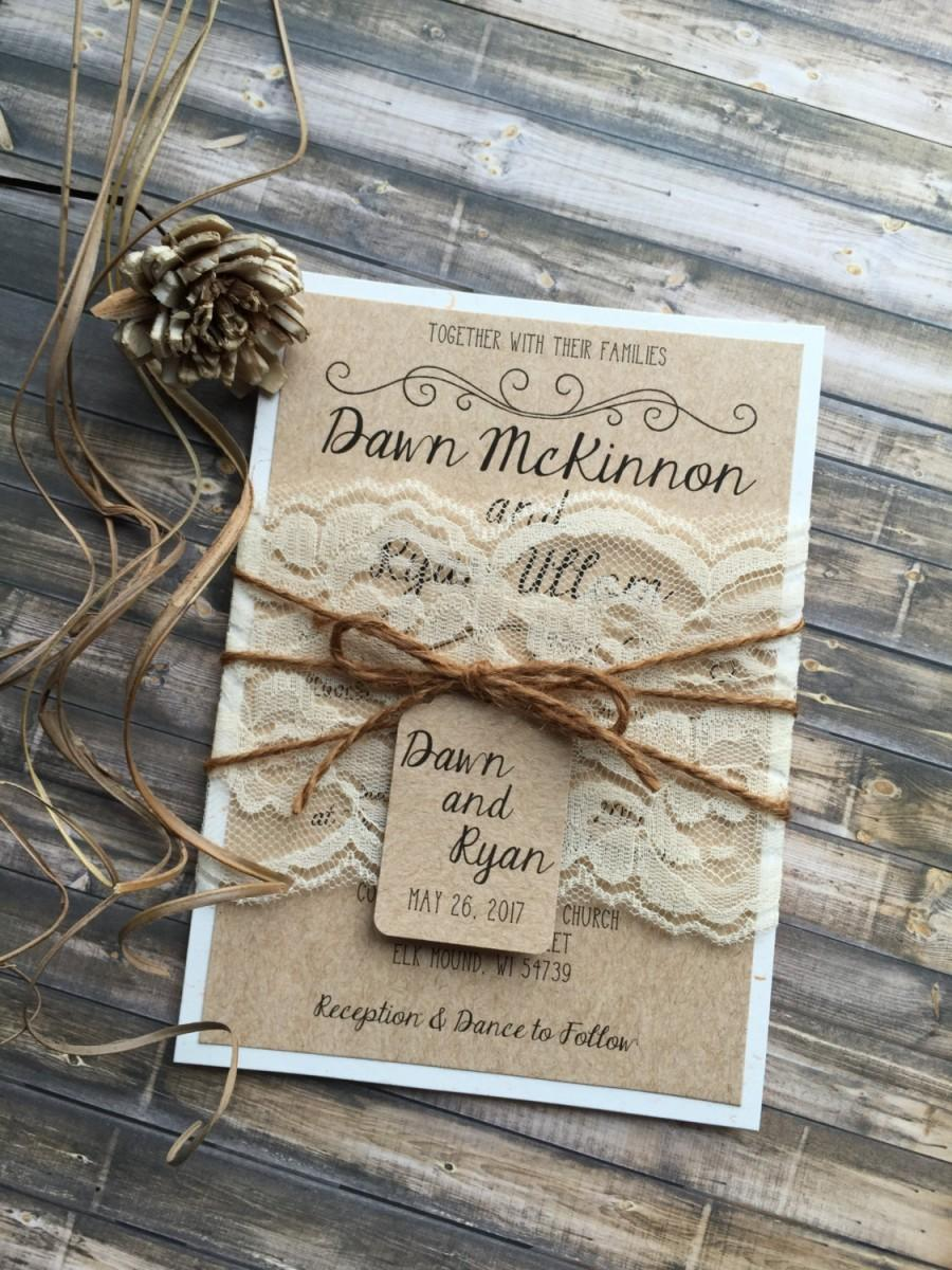 Wedding - Rustic Wedding Invitation, Vintage Wedding Invitation, Elegant Wedding Invitations, Lace Wedding Invitations, Barn Wedding Invitations