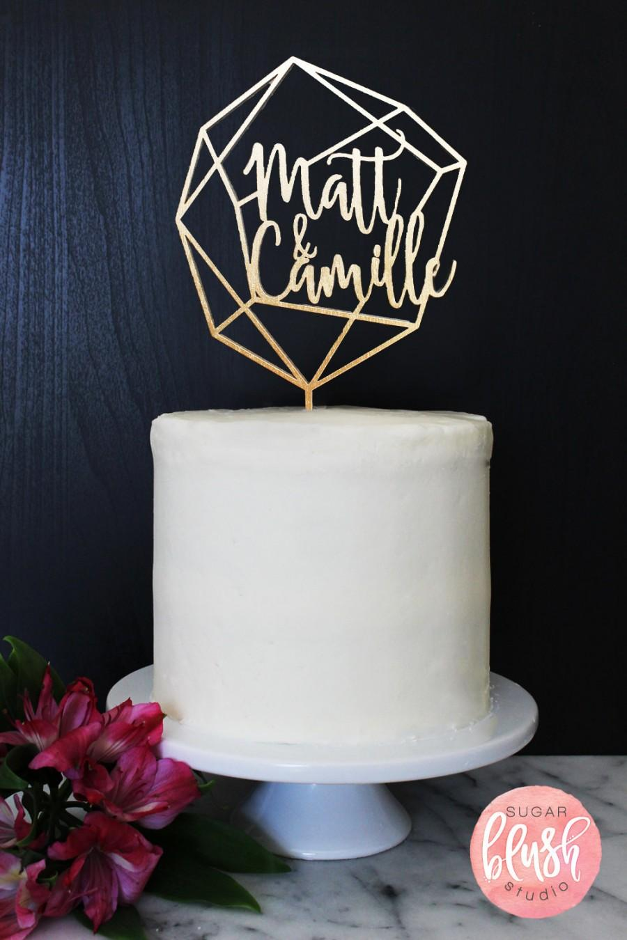 Wedding - Personalized Geometric Wedding Cake Topper