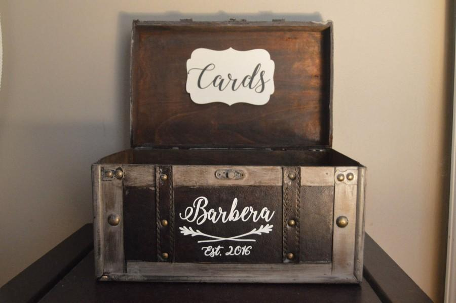 Wedding - Large Rustic Wedding Card Box Holder, Rustic Wedding Card Box with Last Name and Year, Rustic Trunk Wedding Box with Custom Name B1B