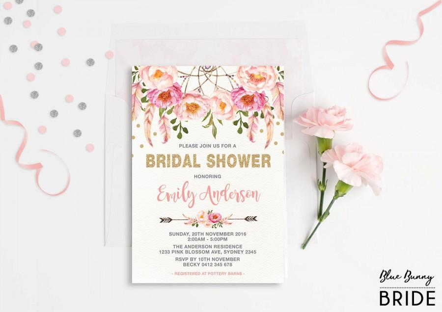 Wedding - Pink and Gold Floral Bridal Shower Invitation. Bohemian Pink Watercolor Flowers. Boho Engagement Invite. Feathers. Dream Catcher. FLO12A