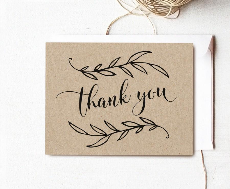 Wedding - Vintage Wedding Printable Thank You Card, Wedding Thank You Card, Kraft Thank You Card - Instant DOWNLOAD - 4.25x5.5 inches, TY1001, VW01