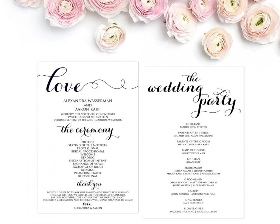Wedding - Wedding Program Template, Wedding Programs, Ceremony Program, Wedding Ceremony, Editable Ceremony Programs, PDF, DIY, WBWD3
