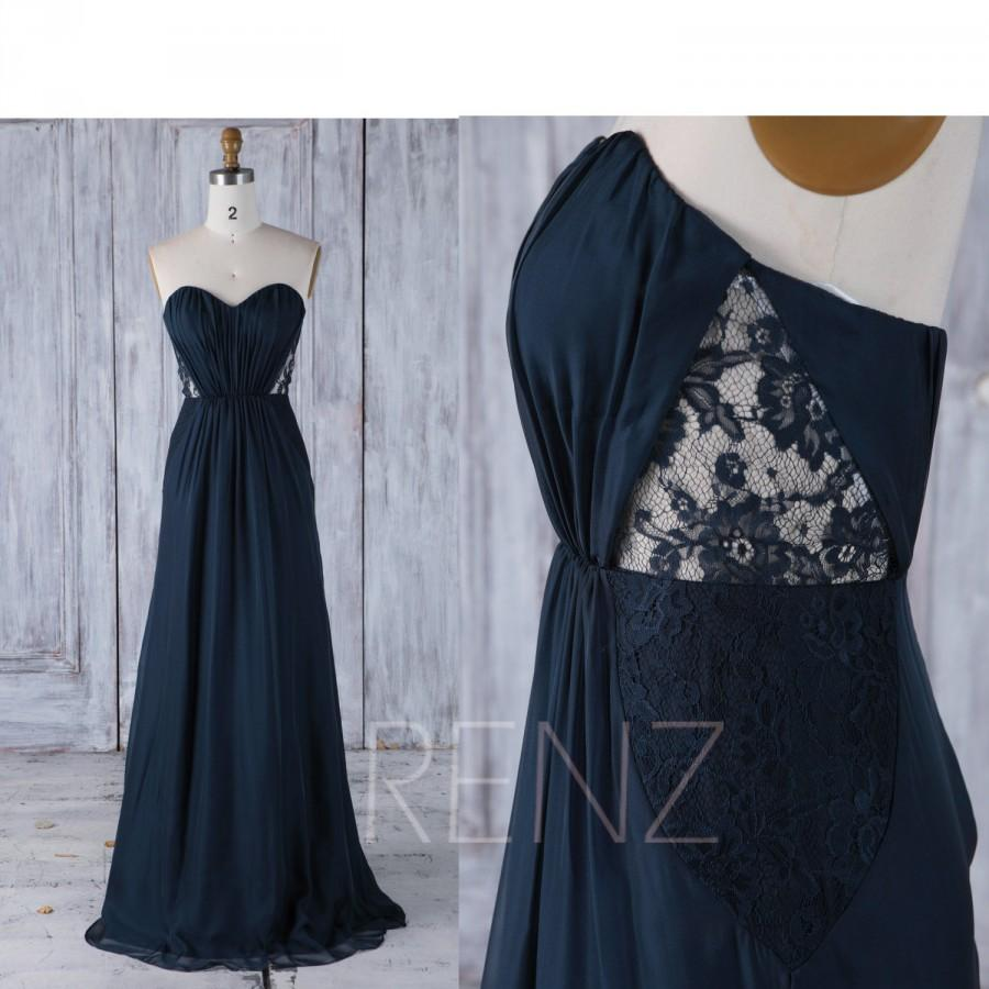 Mariage - 2017 Navy Chiffon Bridesmaid Dress, See Through Lace Wedding Dress, Ruched Sweetheart Prom Dress, Strapless Ball Gown Full Length (L285)
