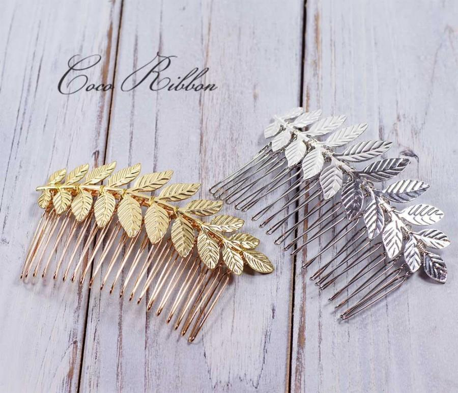 Boda - Leafy Bridal Hair Comb, Laurel Leaf Gold / Silver Wedding Bridal Hair Piece Pin E24