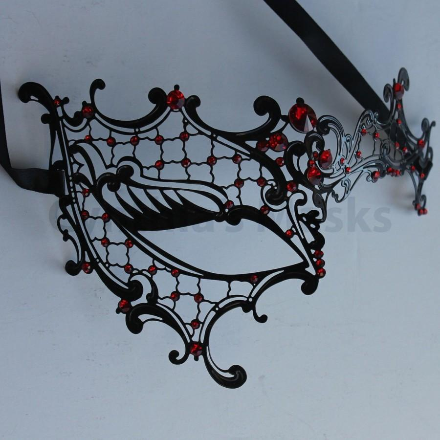 Wedding - Black laser cut Venetian Phentom Mask Masquerade w/ Red Rhinestones  SKU: 7K31
