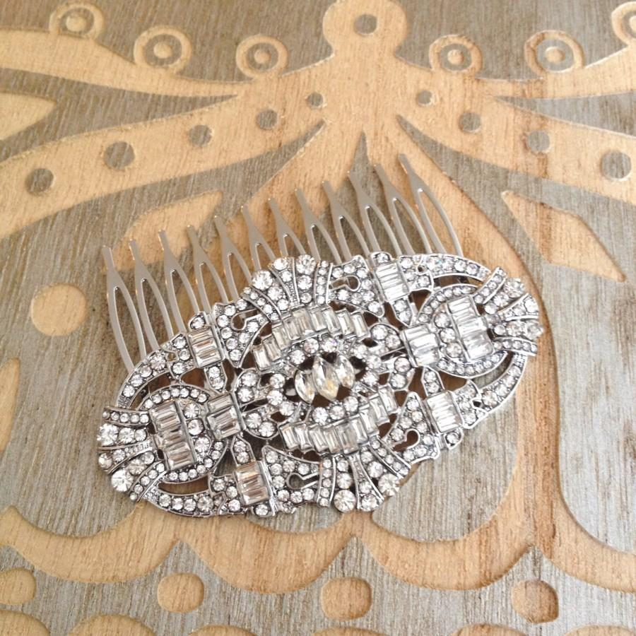 Mariage - Art Deco rhinestone hair comb, rhinestone, 1920, wedding, rustic, bridal, jewelry, hair jewelry, decorative, hair comb, Art Deco, hair slide