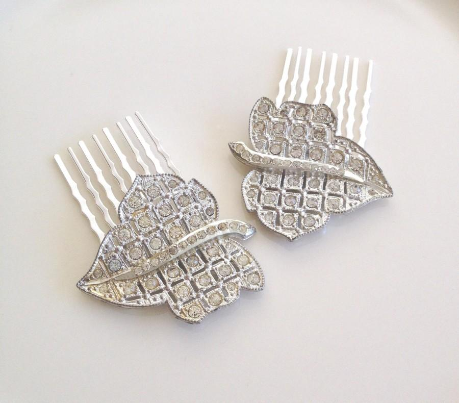 Mariage - Pair of Art Deco rhinestone leaf hair combs, rhinestone, 1920s wedding, rustic, bridal, hair jewelry, decorative, hair slides