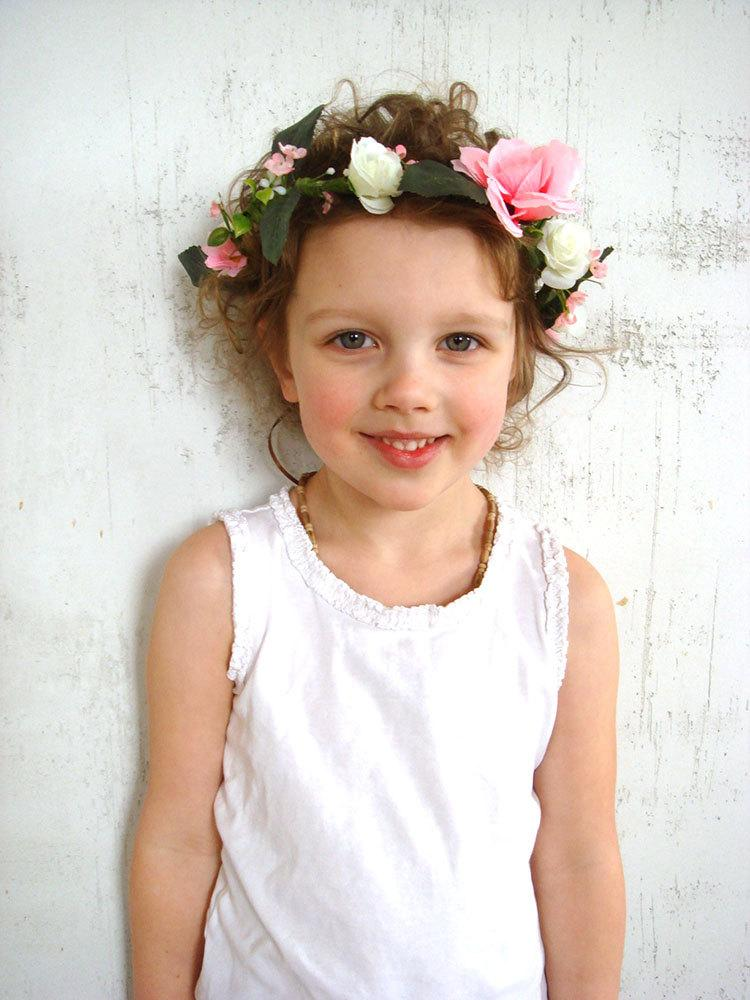Mariage - Girl flower crown, flower girl headband, rose hair accessory, flower girl