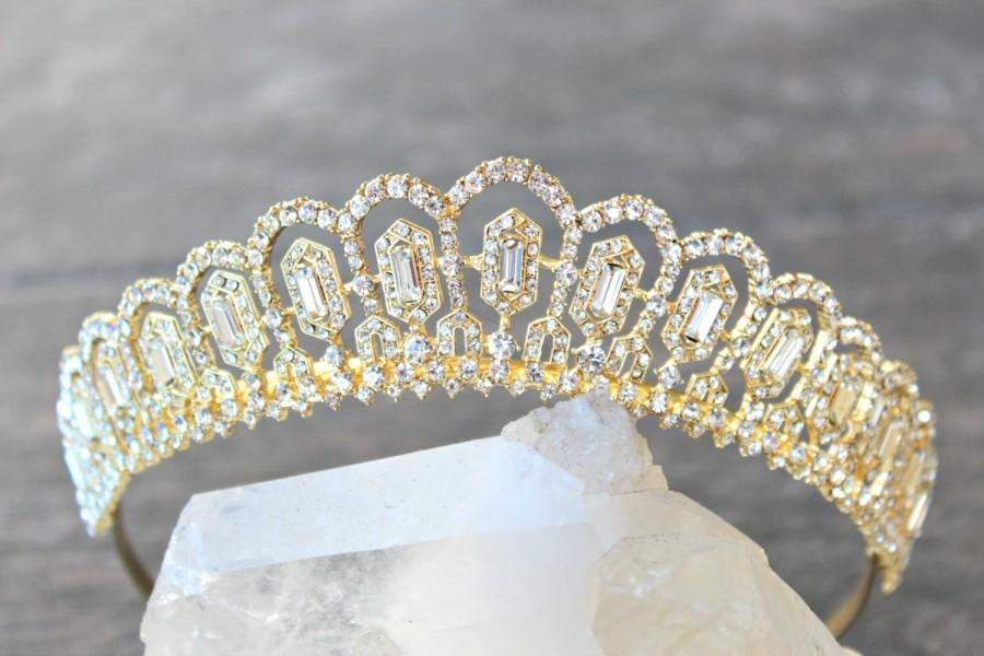 Mariage - Bridal Tiara Swarovski Tiara Baguette Tiara GRETA Gold Tiara, Crystal Wedding Crown Rhinestone Tiara, Wedding Tiara, Diamante Crown, Tiara