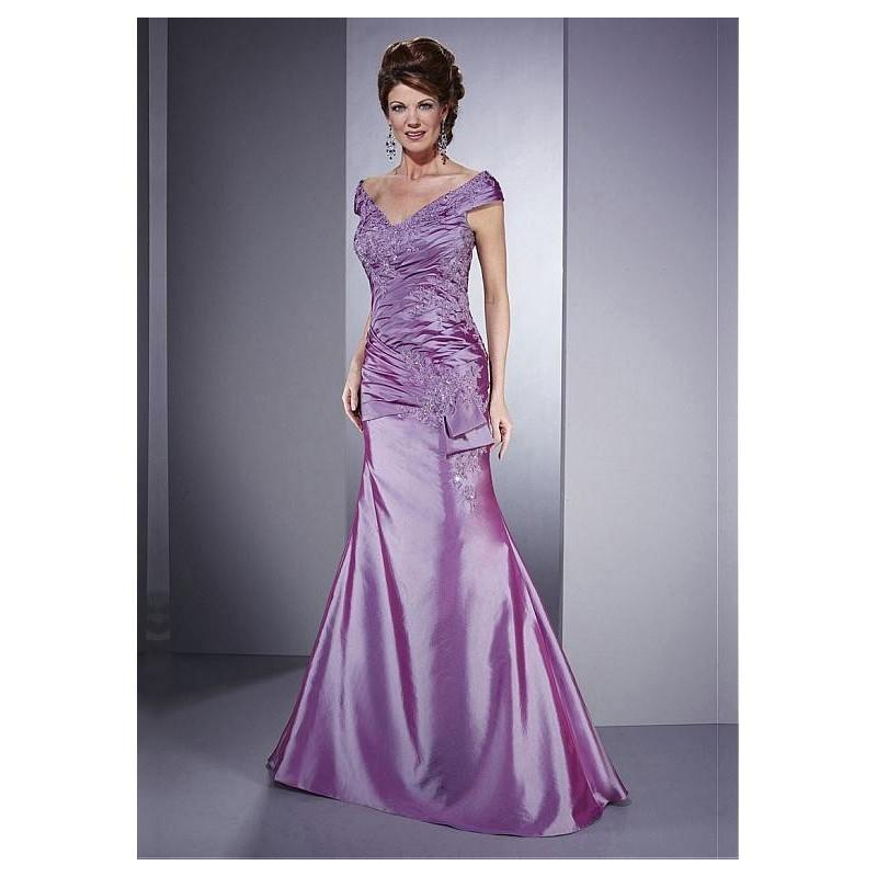 Wedding - Glamorous Taffeta Princess Off-the-shoulder Neckline Asymmetrical Pleated Full Length Mother Dress - overpinks.com