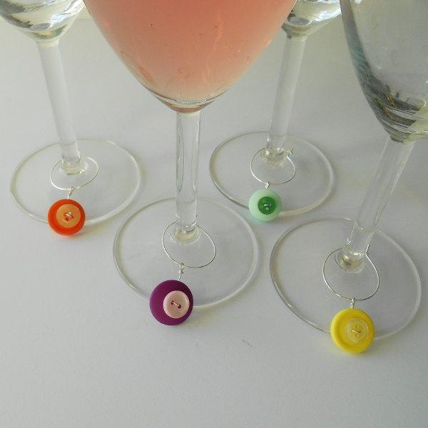 Wedding - Colorful Wine Markers, Hostess Gift Ideas, Unique Buttons, Wire Wrapped, Gifts for Her, Wine Lovers, Set of 4, Holiday Party Gift