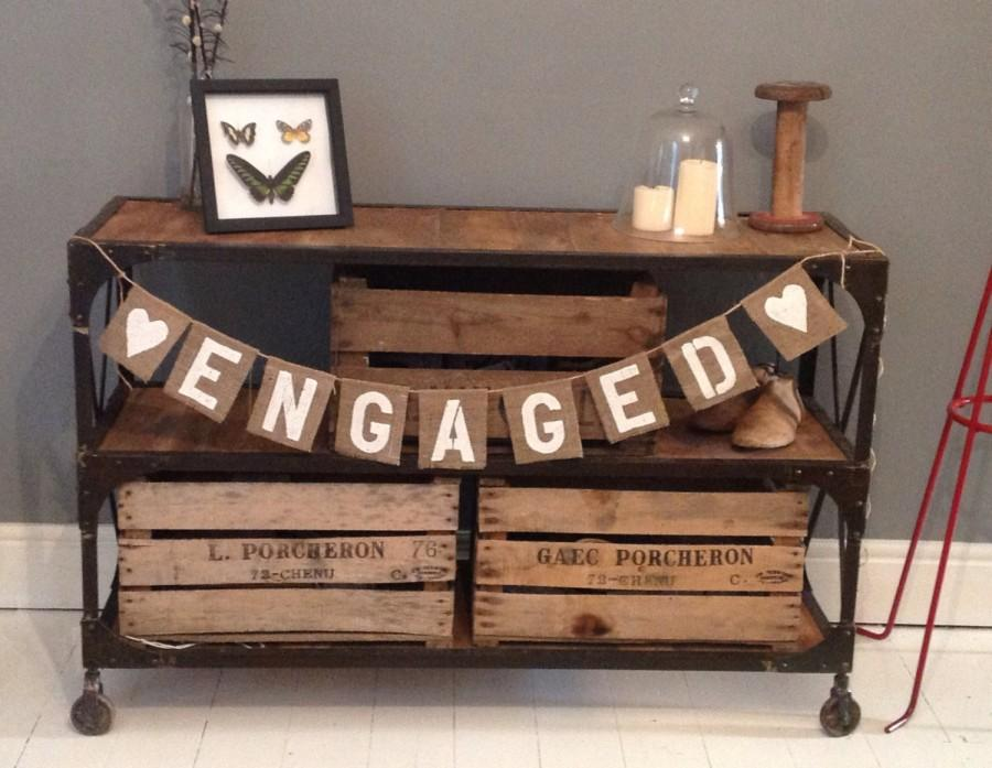 Boda - Hessian Burlap Engagement party banner bunting 'Engaged'