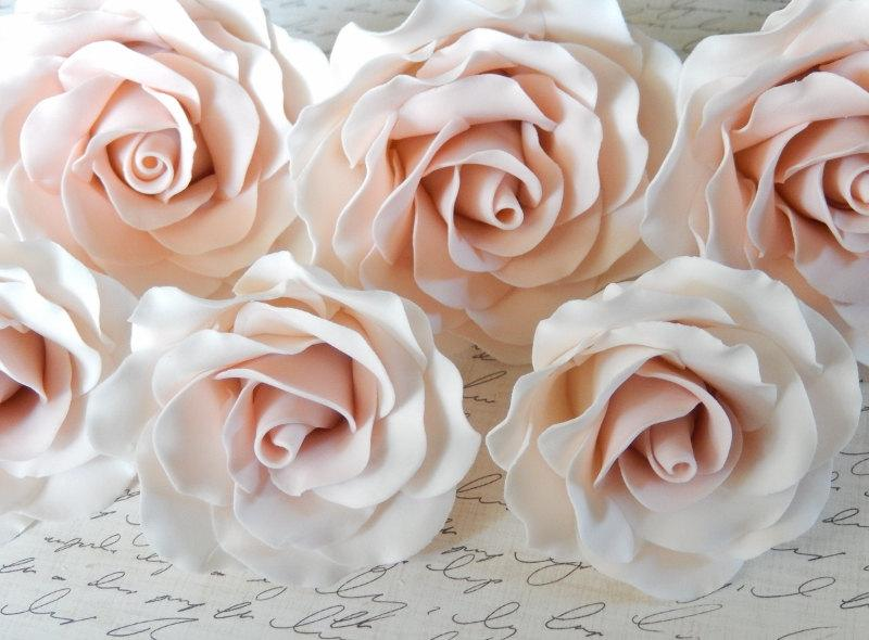 Wedding - Pink Sugar Gumpaste Roses Wedding Cake Topper Set of 6