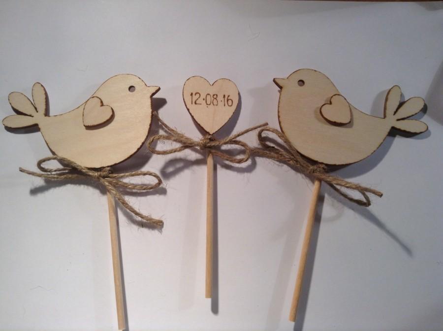 Wedding - Wedding Cake Topper - Bird Cake Topper - Rustic Cake Topper, Wooden Cake Topper