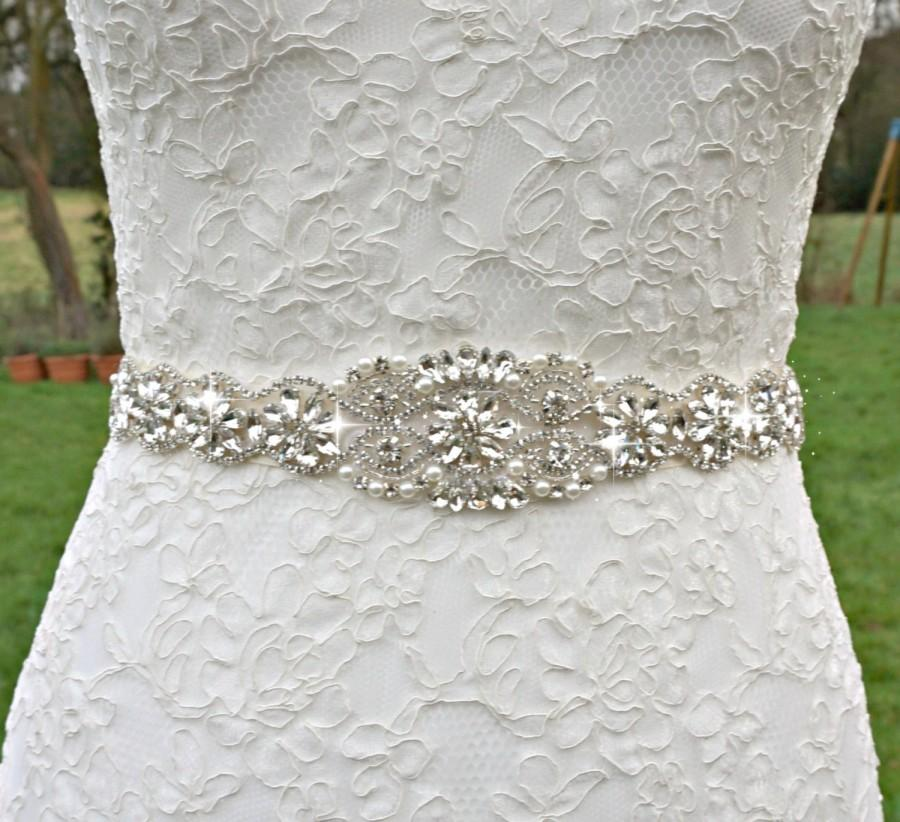 Hochzeit - Bridal sash, bridal belt, sash belt, rhinestone sash, pearl crystal sash, wedding dress belt, great gatsby wedding, wedding belt, dress sash