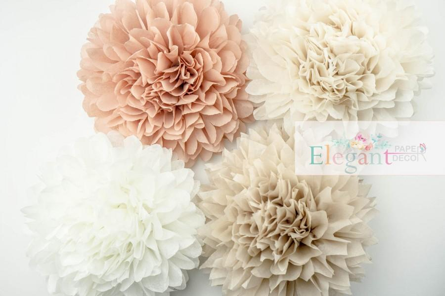 Mariage - Neutral theme poms, paper flower, flower balls, wedding decoration, decoration, paper flower poms, baby shower, engagement party decorations