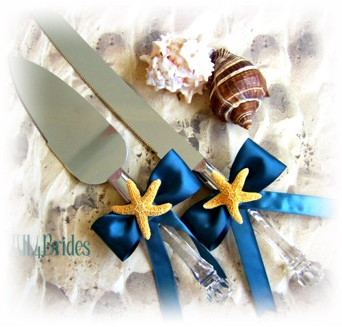 Mariage - Teal Starfish Beach Wedding Cake Cutting Set, Custom Colors