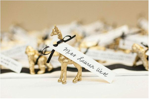 Mariage - Gold Zoo Animal Place Cards / Escort Cards / Favors (set of 25)
