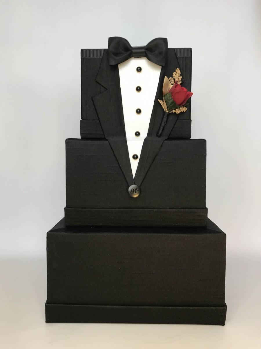 Mariage - Tuxedo Wedding Card Box Mens Wedding Card Holder Unique Elegant Wedding Card Box Custom Box Handmade Gift Card Box