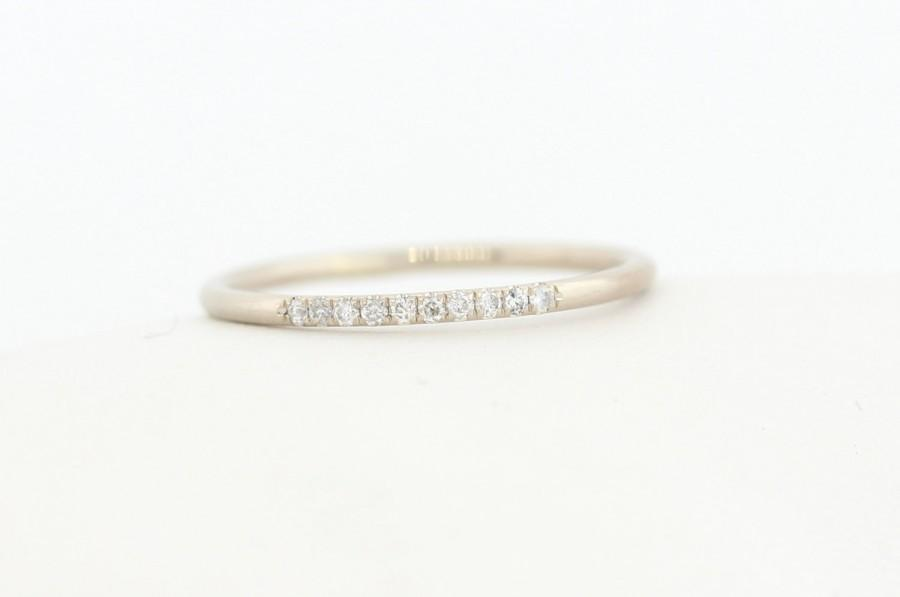 Boda - 14K White Solid Gold Micro Pave Diamond Wedding Band, Diamond Wedding Ring,Micro Pave Band,Diamond Stacking Ring, Half Eternity Diamond Band