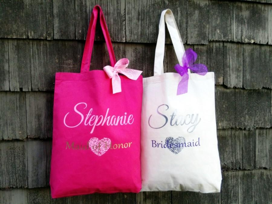 Wedding - Bridal Tote, Bride Bag, Bridesmaid Tote, Bridesmaid Bag, Personalized Tote, Personalized Name Tote, Wedding Day Tote, Bridesmaid Gift