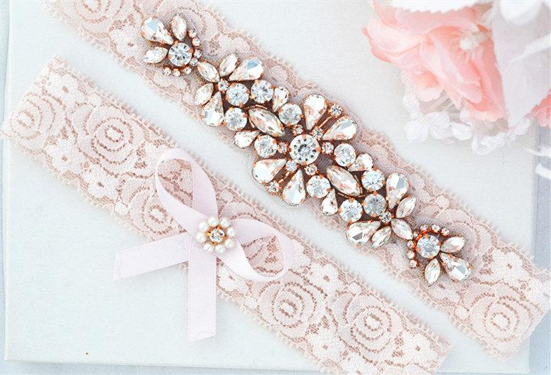 Düğün - BLUSH PINK Rose Gold Crystal pearl Wedding Garter Set, Stretch Lace Garter, Rhinestone Crystal Bridal Garters