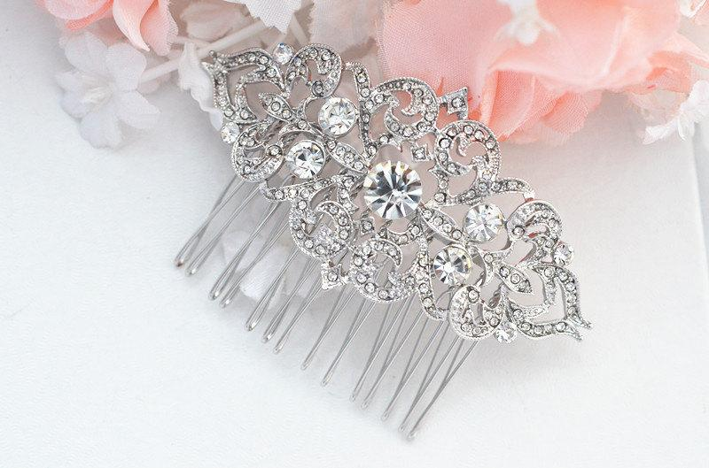 Wedding - Bridal Crystal Pearl Hair Comb. Vintage Rhinestone Flower Jewel Wedding Headpiece