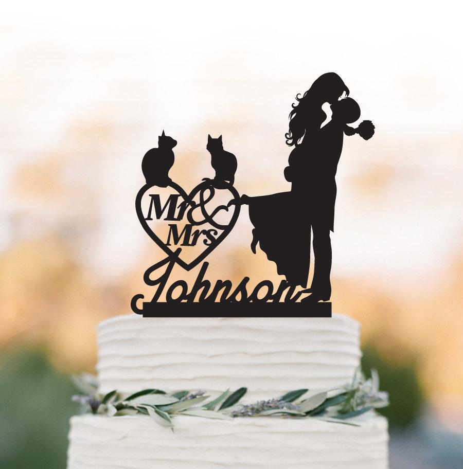 Wedding - Personalized Wedding Cake topper with cat,  groom lifting bride with mr and mrs cake topper. custom wedding cake topper with heart decor