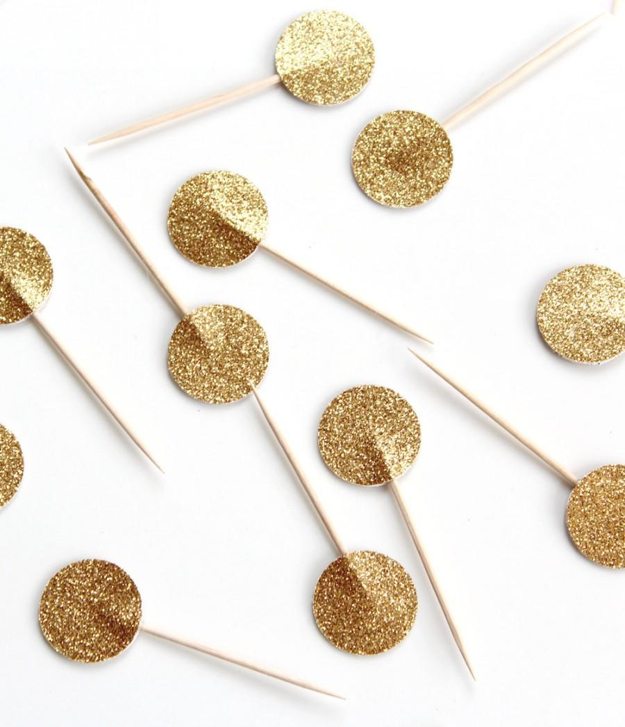 Wedding - Gold Glitter Wedding Cupcake Toppers, Cupcake Toppers, Gold Glitter Wedding Cake Topper, Gold Cupcake Toppers, Glitter Cupcake Decorations