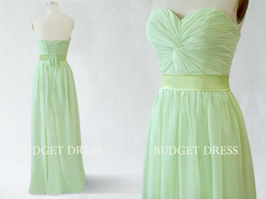 Wedding - A-line Sweetheart Floor Length Chiffon Prom Dress with Lace-up - Bridesmaid Dresses - Prom Dresses - Long Chiffon Dresses - Mint Green Dress