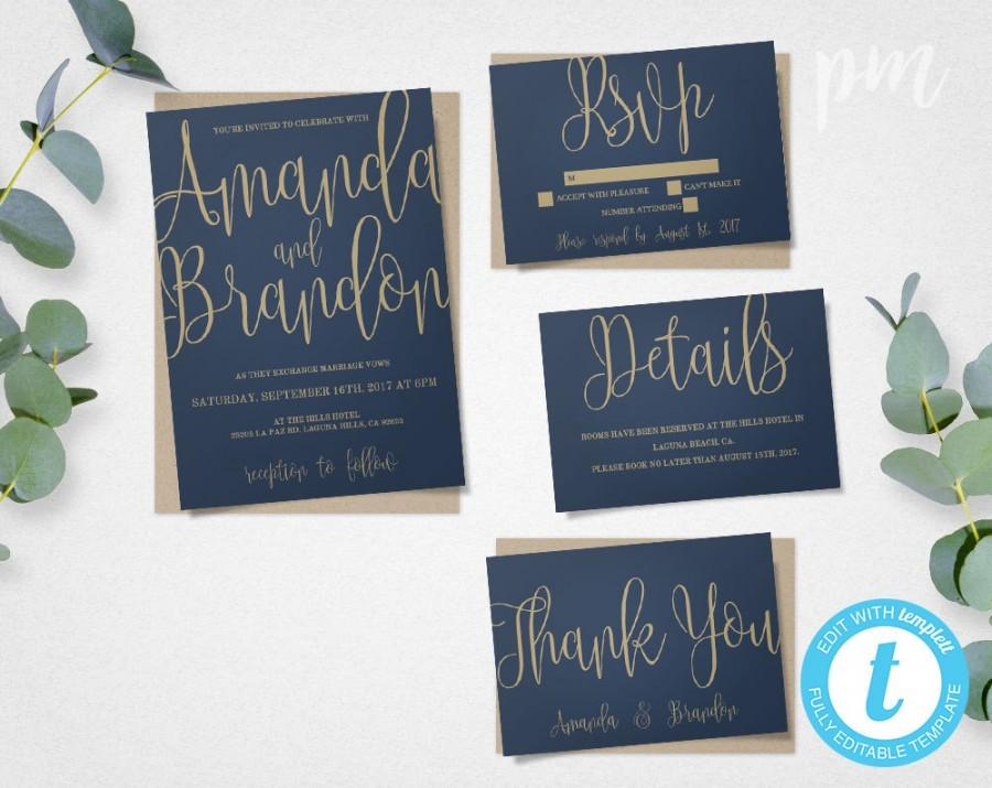 Wedding - Blue & Gold Wedding Invitation Template Suite, Navy Calligraphy Script Printable Invitation, Instant Download DIY Wedding Invitations