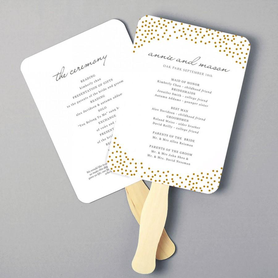 Wedding - Printable Fan Program, Fan Program Template, Wedding Fan Template, Gold Dots, DIY in Microsoft Word or Apple Pages, INSTANT DOWNLOAD