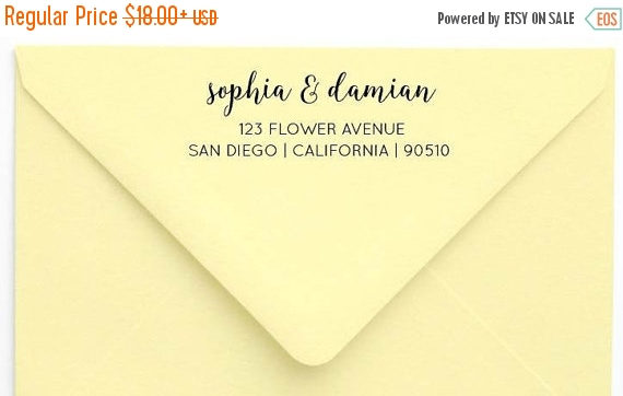 Boda - SALE Return Address Stamp Hand Lettering Stamp Calligraphy Stamp Wedding Stamp Wood Handle or Self Inking