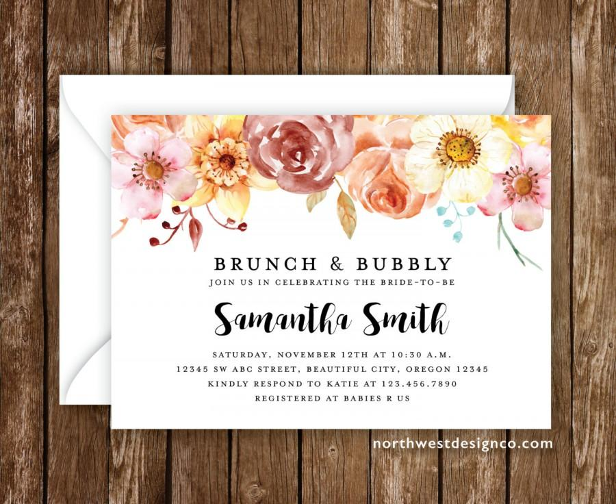 Wedding - Brunch and Bubbly Bridal Shower Invitation Spring Invitation Autumn Invite Red Orange Floral Fall Shower Invite 5x7 Digital or Printed