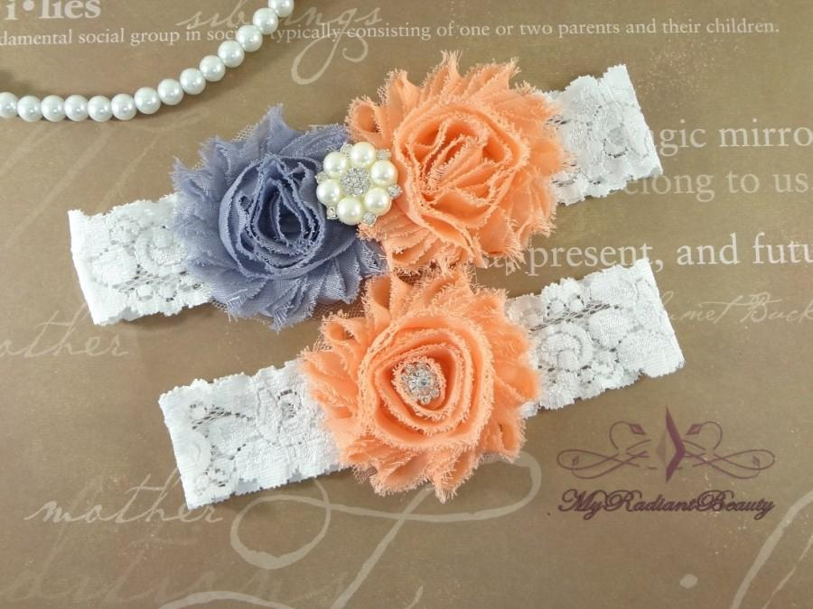 Boda - Wedding Garter, Garters, Bridal Garter, Chiffon Rosette Gray Peach Garter, Garter set, Garter belt, Lace Garter, Custom Garter GTF0028PE