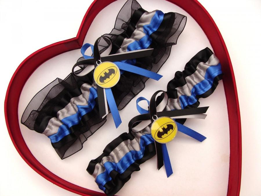 Mariage - New Handmade Batman Wedding Garters Silver Blue Black Yellow Garter Prom Homecoming Dance Superhero Wedding Garter Set