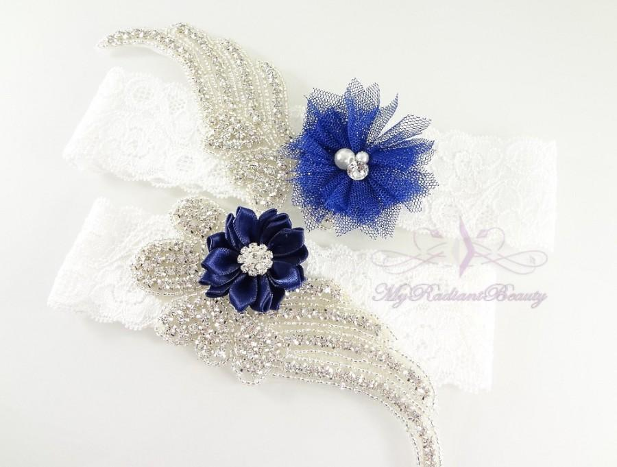 Wedding - Bridal Garter, Wedding Garter Set, Sexy Garter, Crystal Flower Garter, Bridal Flower Garter, Handmade Custom Garter, Beaded Garter GTF0009NB