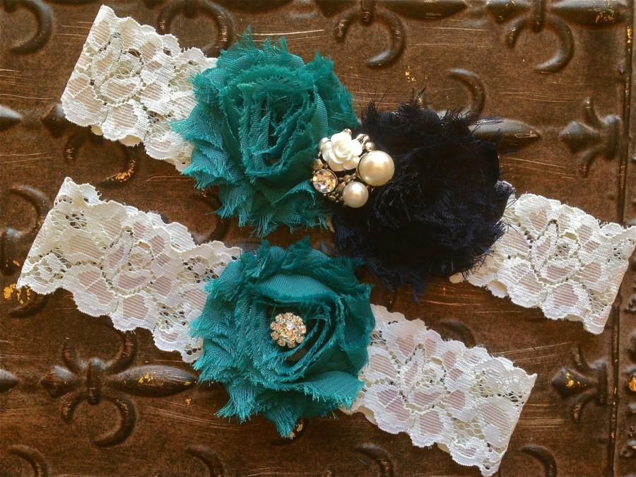 Hochzeit - Teal Wedding Garter, Navy Wedding Garter, Something Blue Wedding Garter, Wedding Garter Set, Toss Garter, Ivory Lace Garter, Blue Garter