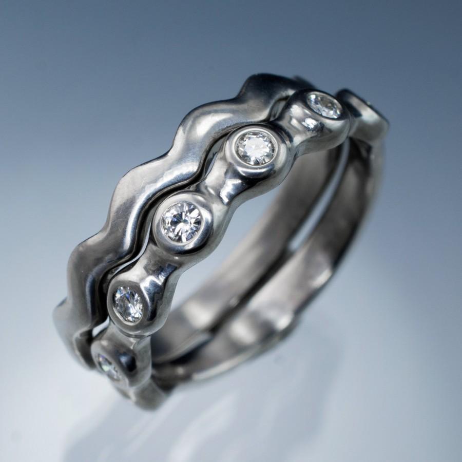 Boda - Moissanite Half Eternity Bridal Set Wedding Rings in Silver, Palladium, White or Yellow Gold