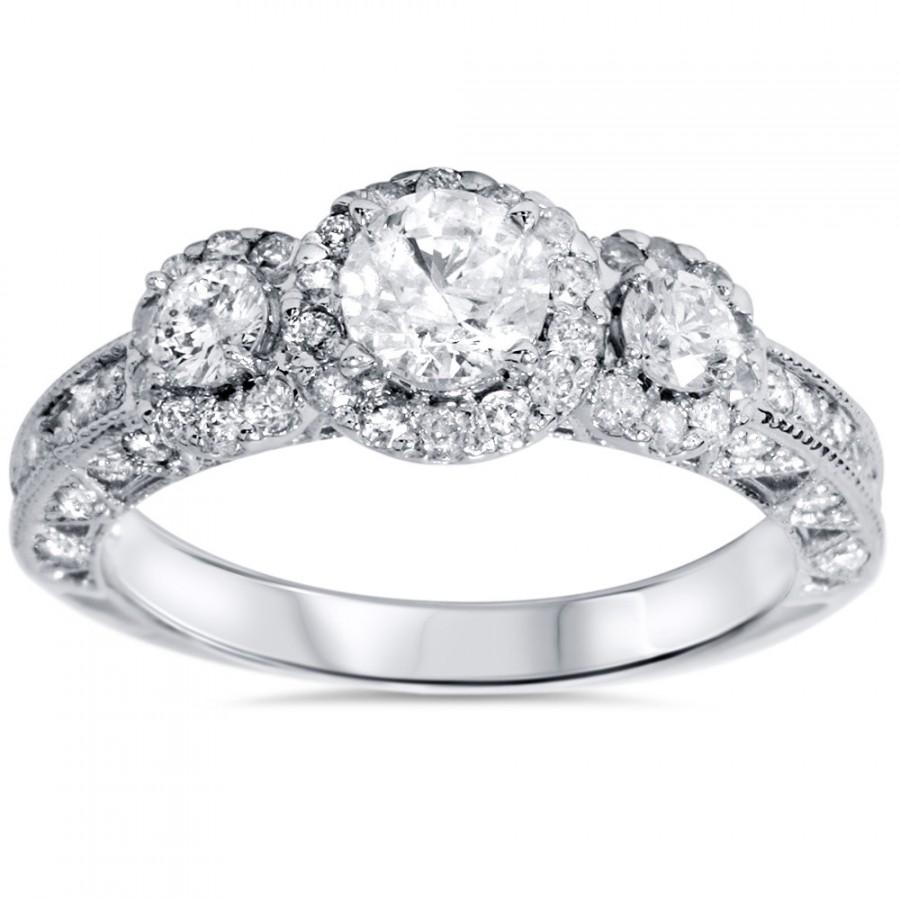 Boda - 1.25 cttw 3 Stone Diamond Halo Vintage Antique Style Engagement Ring Anniversary 14K White Gold Size 4-9