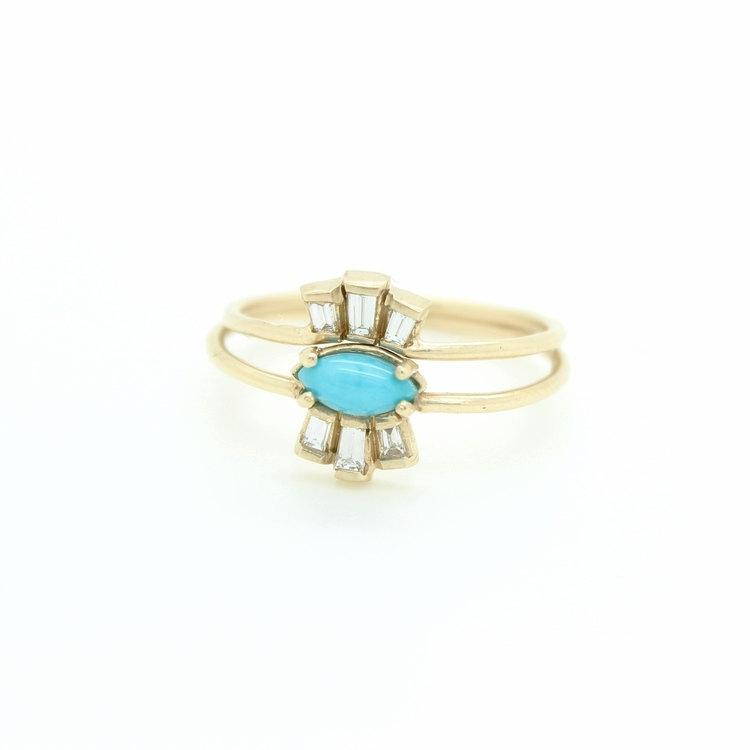 Hochzeit - ON SALE!! // 40% off  //  Plume + Crux Ring // Diamond Baguettes + Turquoise // 14k Gold