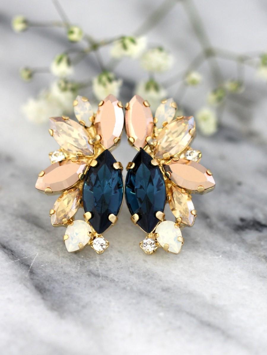 Boda - Blue Navy Earrings, Dark Blue Earrings, Blue Gold Earrings, Midnight Blue Cluster Earrings,Navy Blue Cluster Earrings, Bridesmaids Earrings