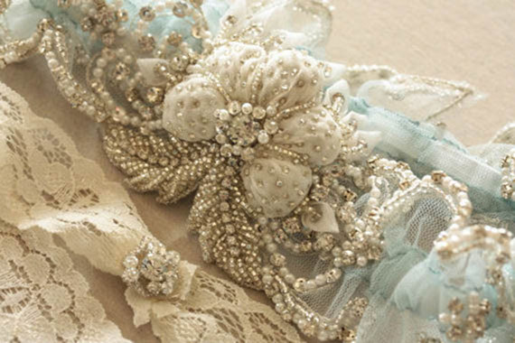 Nozze - Wedding Garter Set in Blue  - Paris Romance Blue (Made to Order)