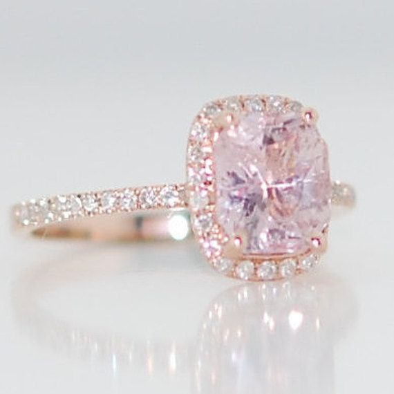 Mariage - On Hold -Champagne Sapphire Engagement Ring 14k Rose Gold Diamond Ring 1.76ct Cushion Light Lavender Peach Champagne Sapphire