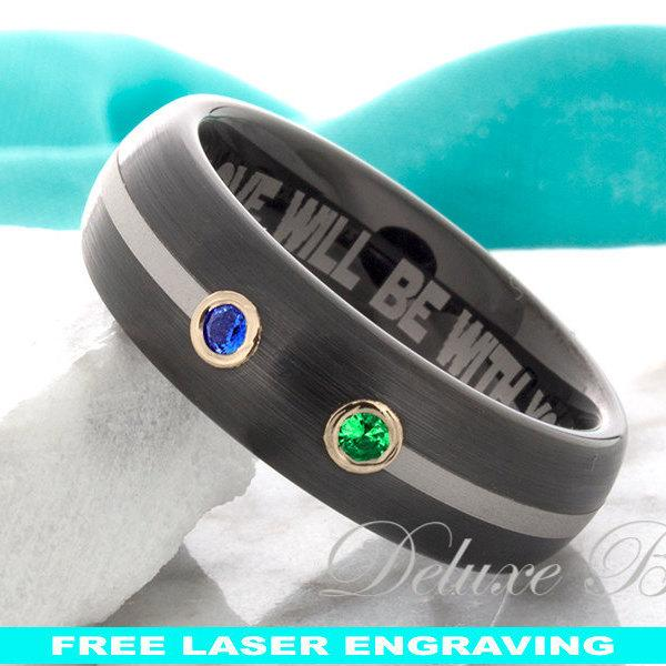 Mariage - Black Tungsten Wedding Ring Dome 8mm His Hers Mens Womens Sapphire Emerald Wedding Band Anniversary Ring Comfort Fit FREE Laser Engraving