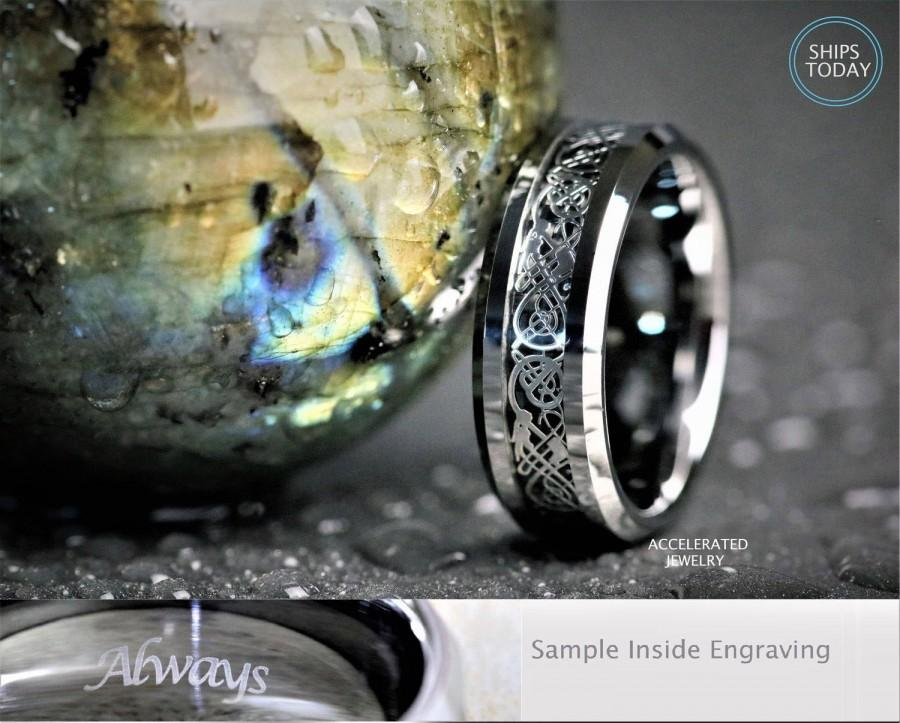 Wedding - 8MM Mens Silver Tungsten With Celtic Dragon Scroll  Wedding, Engagement, Anniversary Ring, Custom Laser Engraved Inside