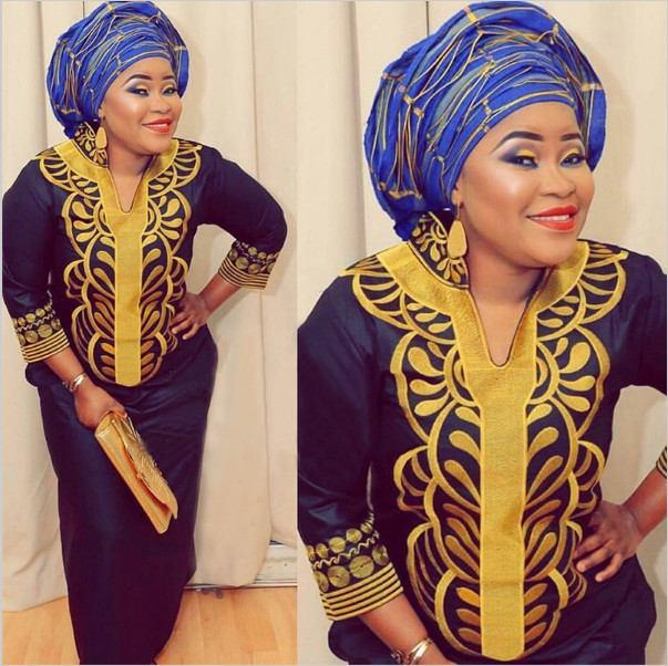 Blue Dashiki African Women Gown And Scarf Clothing, Ankara Dress ...
