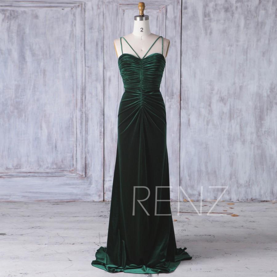 Wedding - 2017 Dark Green Velvet Bridesmaid Dress, Ruched Bodice Wedding Dress, Sweetheart Spaghetti Straps Prom Dress, Backless MOD Dress Full(HV412)