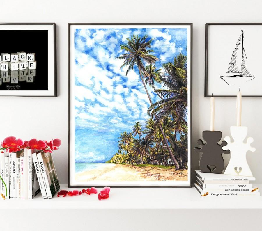 Wedding - Summer art, Summer illustration, Hawaii print, Summer print, fashion illustration, summer, summer beach, summer weather, summer painting