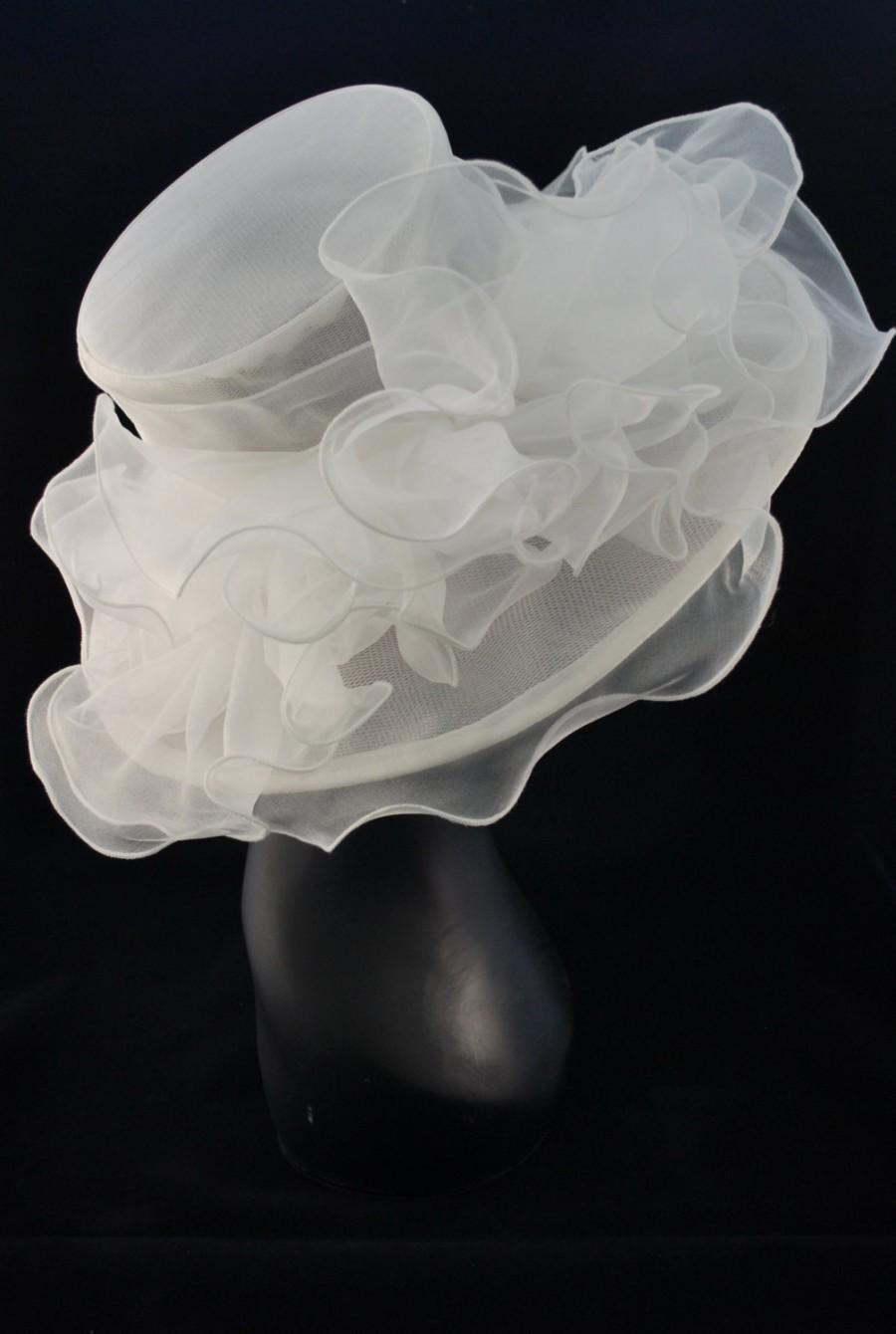 زفاف - White Ivory  Kentucky Derby Hat, Church hat, Tea Party Hat, White Hat, Formal Hat, Fashion Hat, Church Hat, Wedding Hat, Funeral Hat